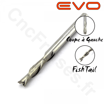 Fraise 2 dents Gauche FishTail 3.17mm LU 12mm Q 3.175mm EVO