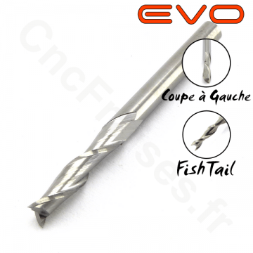 Fraise 2 dents Gauche FishTail 3.17mm LU 15mm Q 3.175mm EVO